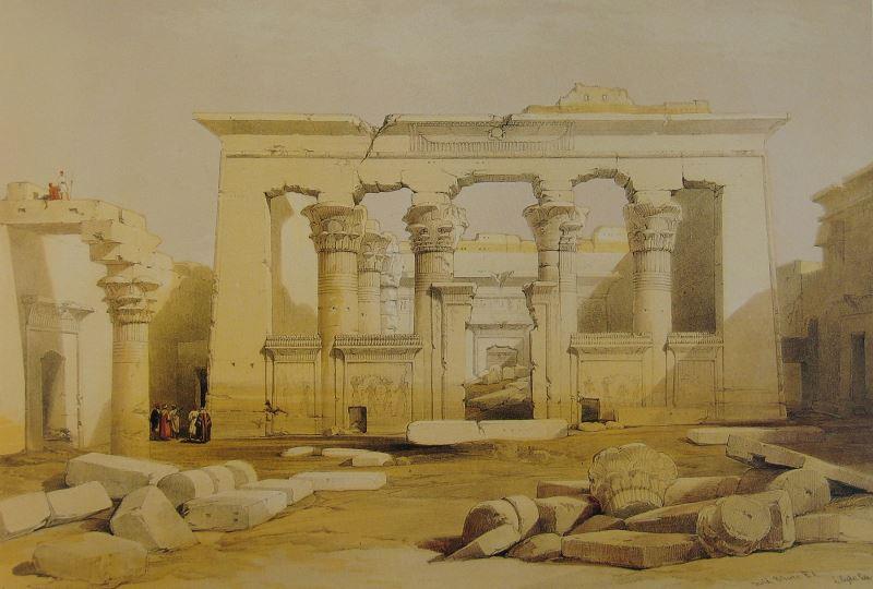 Der Tempel von Kalabscha auf einem Bild des Künstlers David Roberts (Portico of the Temple of Kalabshe, Nubia)
